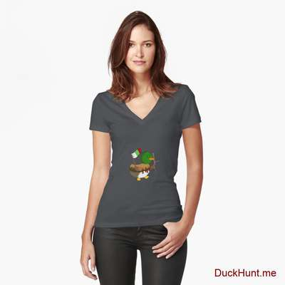 Kamikaze Duck Dark Grey Fitted V-Neck T-Shirt (Front printed) image