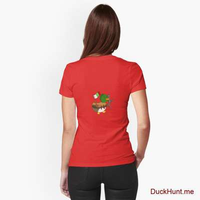 Kamikaze Duck Red Fitted V-Neck T-Shirt (Back printed) image