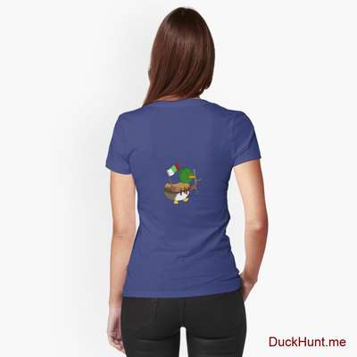Kamikaze Duck Blue Fitted V-Neck T-Shirt (Back printed) image