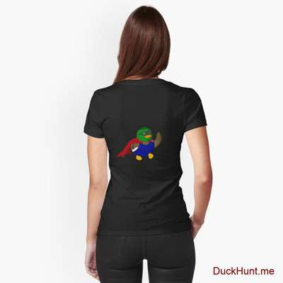 Alive Boss Duck Black Fitted V-Neck T-Shirt (Back printed) image
