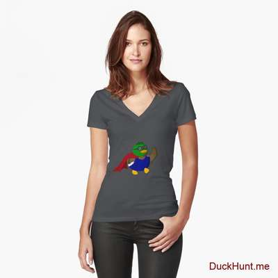 Alive Boss Duck Dark Grey Fitted V-Neck T-Shirt (Front printed) image