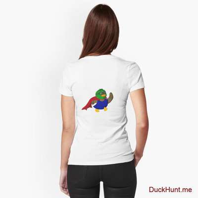 Alive Boss Duck White Fitted V-Neck T-Shirt (Back printed) image