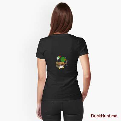 Kamikaze Duck Black Fitted V-Neck T-Shirt (Back printed) image