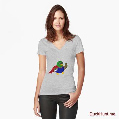 Alive Boss Duck Heather Grey Fitted V-Neck T-Shirt (Front printed) image
