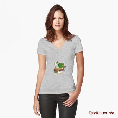 Kamikaze Duck Heather Grey Fitted V-Neck T-Shirt (Front printed) image
