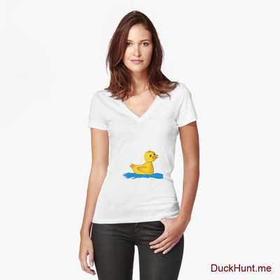 Plastic Duck White Fitted V-Neck T-Shirt (Front printed) image