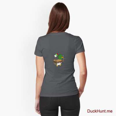 Kamikaze Duck Dark Grey Fitted V-Neck T-Shirt (Back printed) image