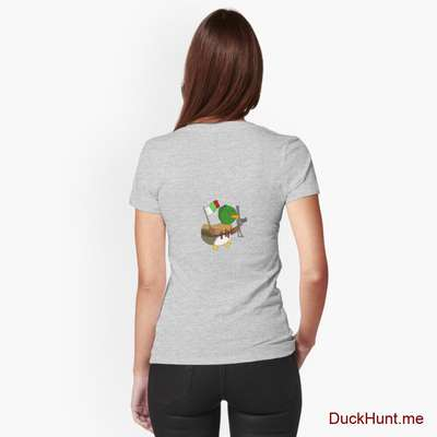 Kamikaze Duck Heather Grey Fitted V-Neck T-Shirt (Back printed) image