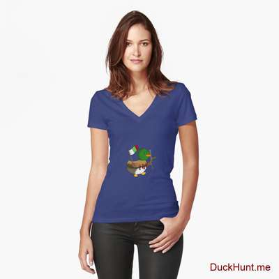 Kamikaze Duck Blue Fitted V-Neck T-Shirt (Front printed) image