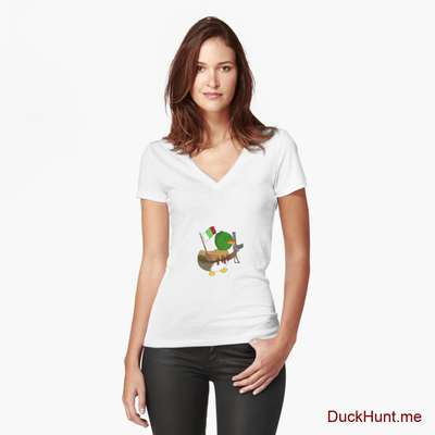 Kamikaze Duck White Fitted V-Neck T-Shirt (Front printed) image