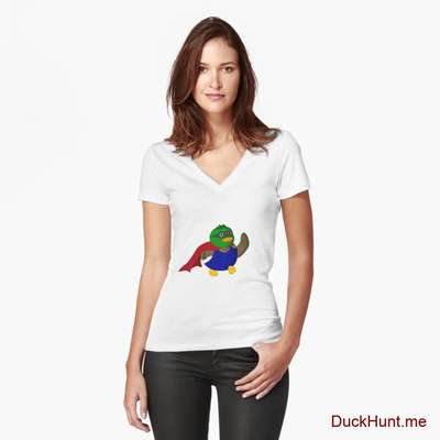 Alive Boss Duck White Fitted V-Neck T-Shirt (Front printed) image