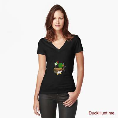 Kamikaze Duck Black Fitted V-Neck T-Shirt (Front printed) image