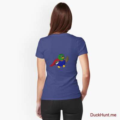Alive Boss Duck Blue Fitted V-Neck T-Shirt (Back printed) image
