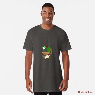 Kamikaze Duck Charcoal Heather Long T-Shirt (Front printed) image