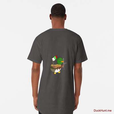 Kamikaze Duck Charcoal Heather Long T-Shirt (Back printed) image