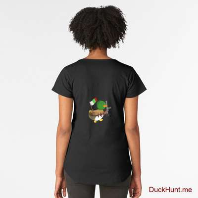 Kamikaze Duck Black Premium Scoop T-Shirt (Back printed) image