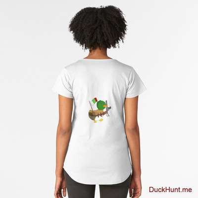 Kamikaze Duck White Premium Scoop T-Shirt (Back printed) image