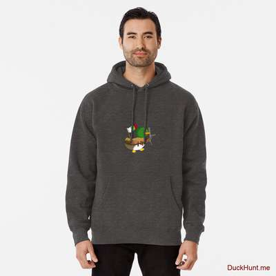 Kamikaze Duck Charcoal Heather Pullover Hoodie (Front printed) image