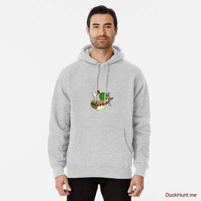 Kamikaze Duck Heather Grey Pullover Hoodie (Front printed) image