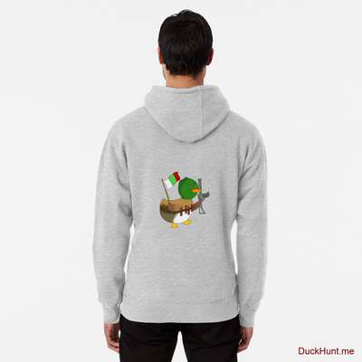 Kamikaze Duck Heather Grey Pullover Hoodie (Back printed) image