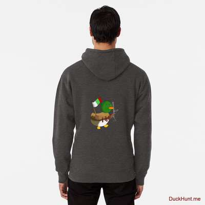 Kamikaze Duck Charcoal Heather Pullover Hoodie (Back printed) image