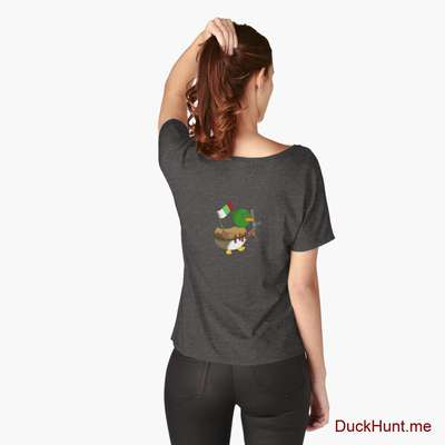 Kamikaze Duck Charcoal Heather Relaxed Fit T-Shirt (Back printed) image