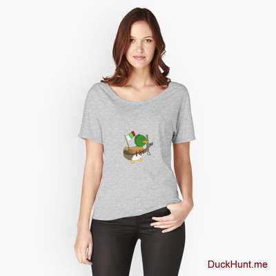 Kamikaze Duck Heather Grey Relaxed Fit T-Shirt (Front printed) image