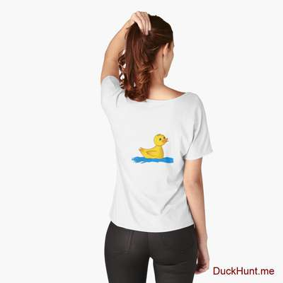 Plastic Duck White Relaxed Fit T-Shirt (Back printed) image