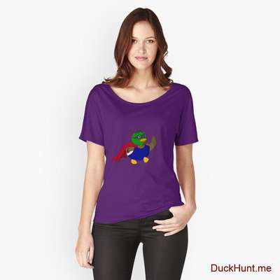 Alive Boss Duck Purple Relaxed Fit T-Shirt (Front printed) image