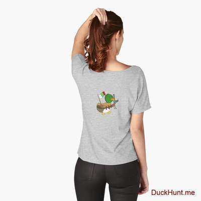 Kamikaze Duck Heather Grey Relaxed Fit T-Shirt (Back printed) image