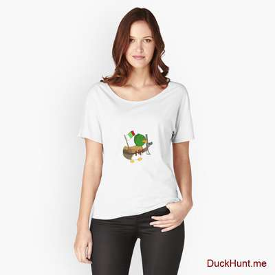 Kamikaze Duck White Relaxed Fit T-Shirt (Front printed) image