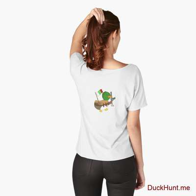 Kamikaze Duck White Relaxed Fit T-Shirt (Back printed) image