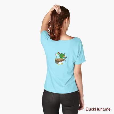 Kamikaze Duck Turquoise Relaxed Fit T-Shirt (Back printed) image