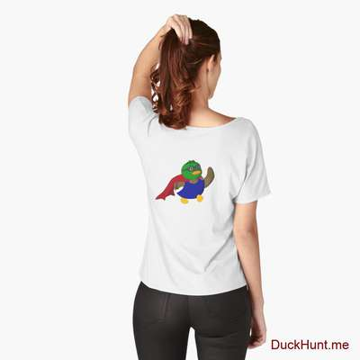 Alive Boss Duck White Relaxed Fit T-Shirt (Back printed) image