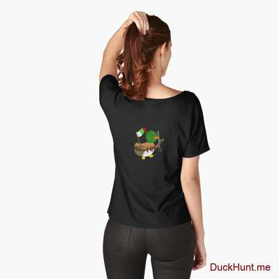 Kamikaze Duck Black Relaxed Fit T-Shirt (Back printed) image