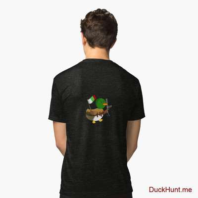 Kamikaze Duck Black Tri-blend T-Shirt (Back printed) image