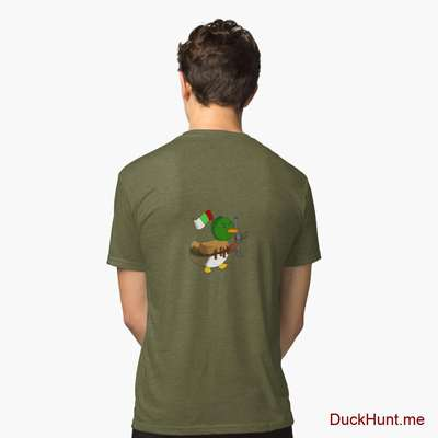 Kamikaze Duck Green Tri-blend T-Shirt (Back printed) image