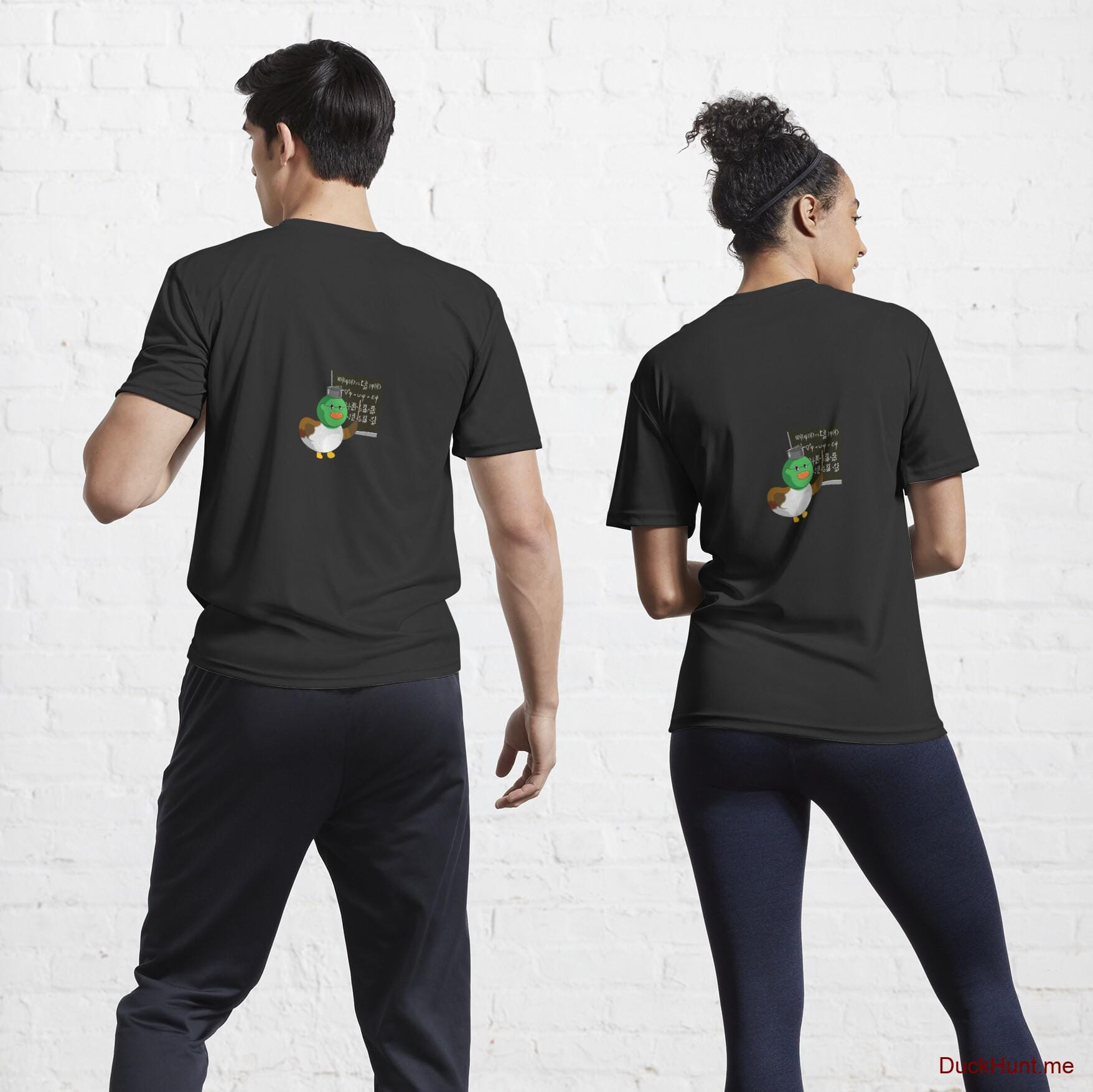 Prof Duck Black Active T-Shirt (Back printed)