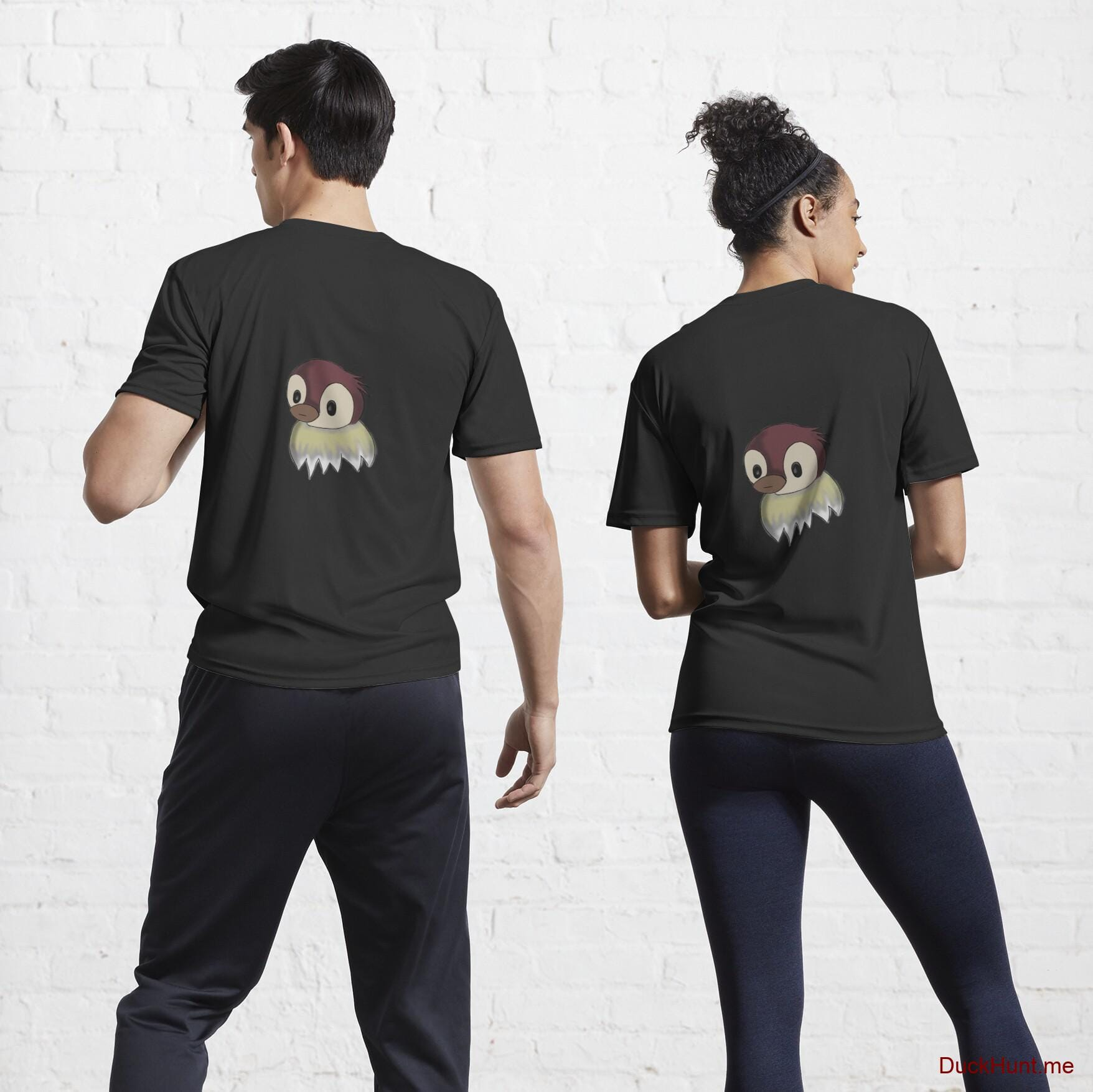 Ghost Duck (fogless) Black Active T-Shirt (Back printed)