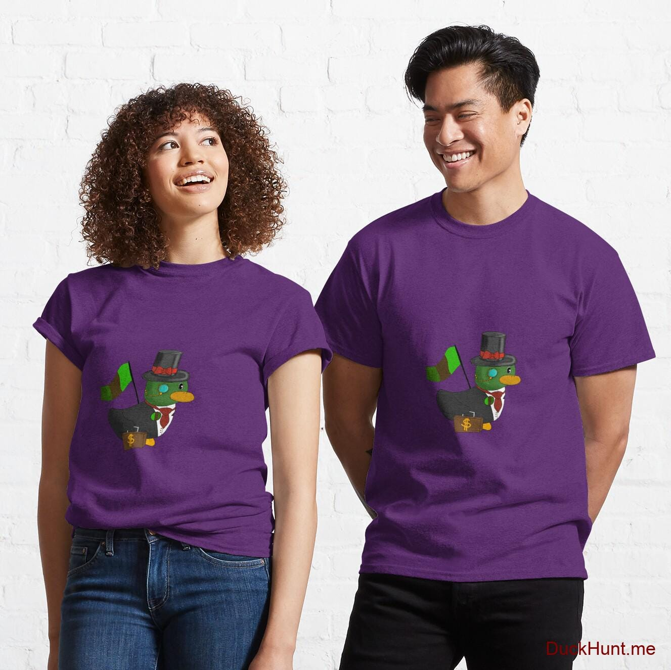 Golden Duck Purple Classic T-Shirt (Front printed)