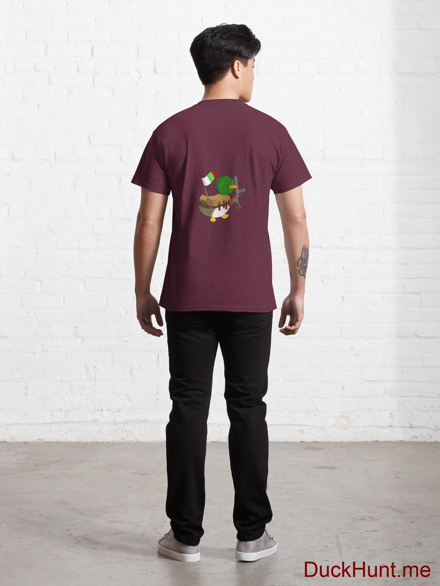 Kamikaze Duck Dark Red Classic T-Shirt (Back printed) alternative image 3