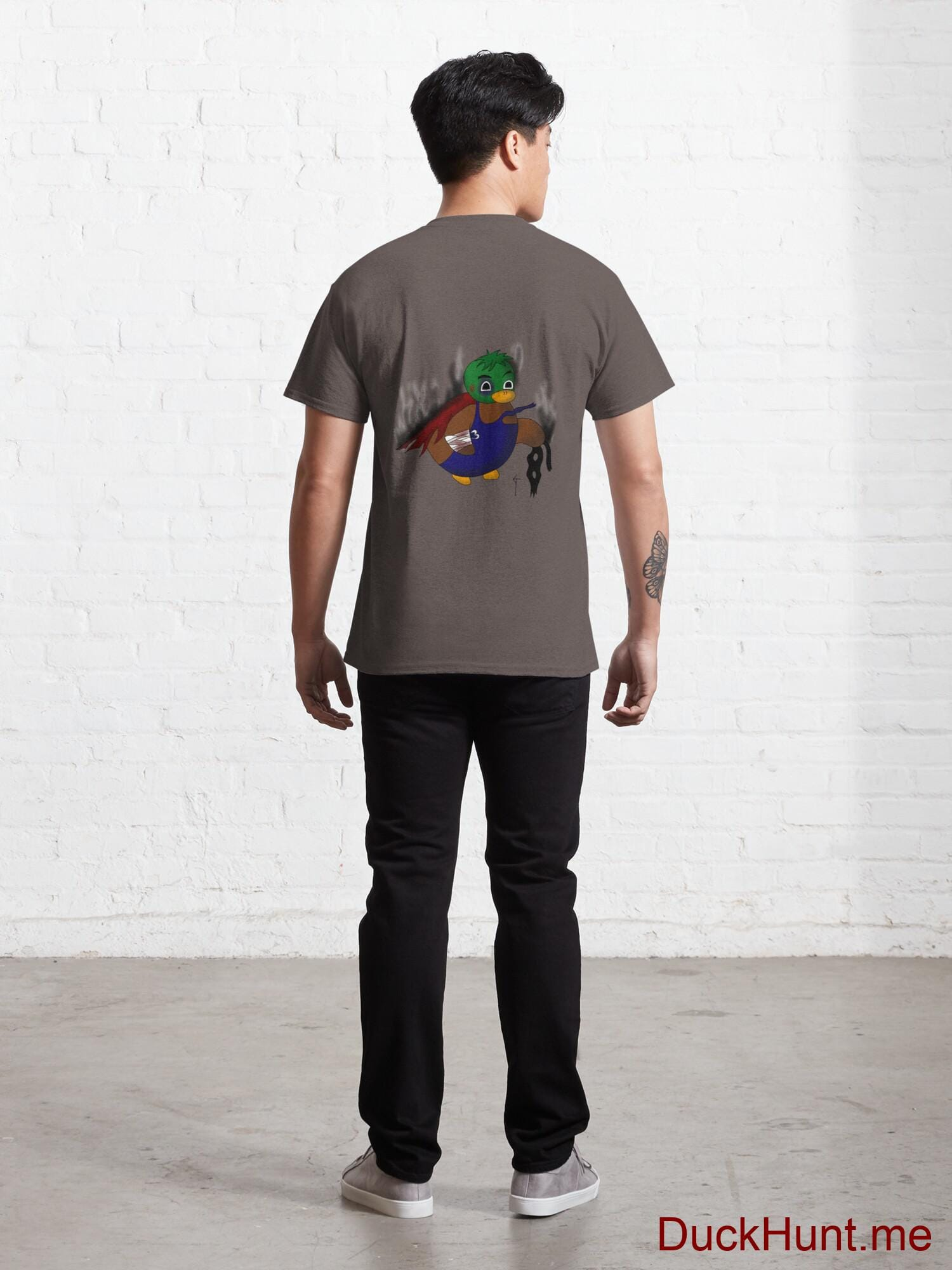 Dead Boss Duck (smoky) Dark Grey Classic T-Shirt (Back printed) alternative image 3
