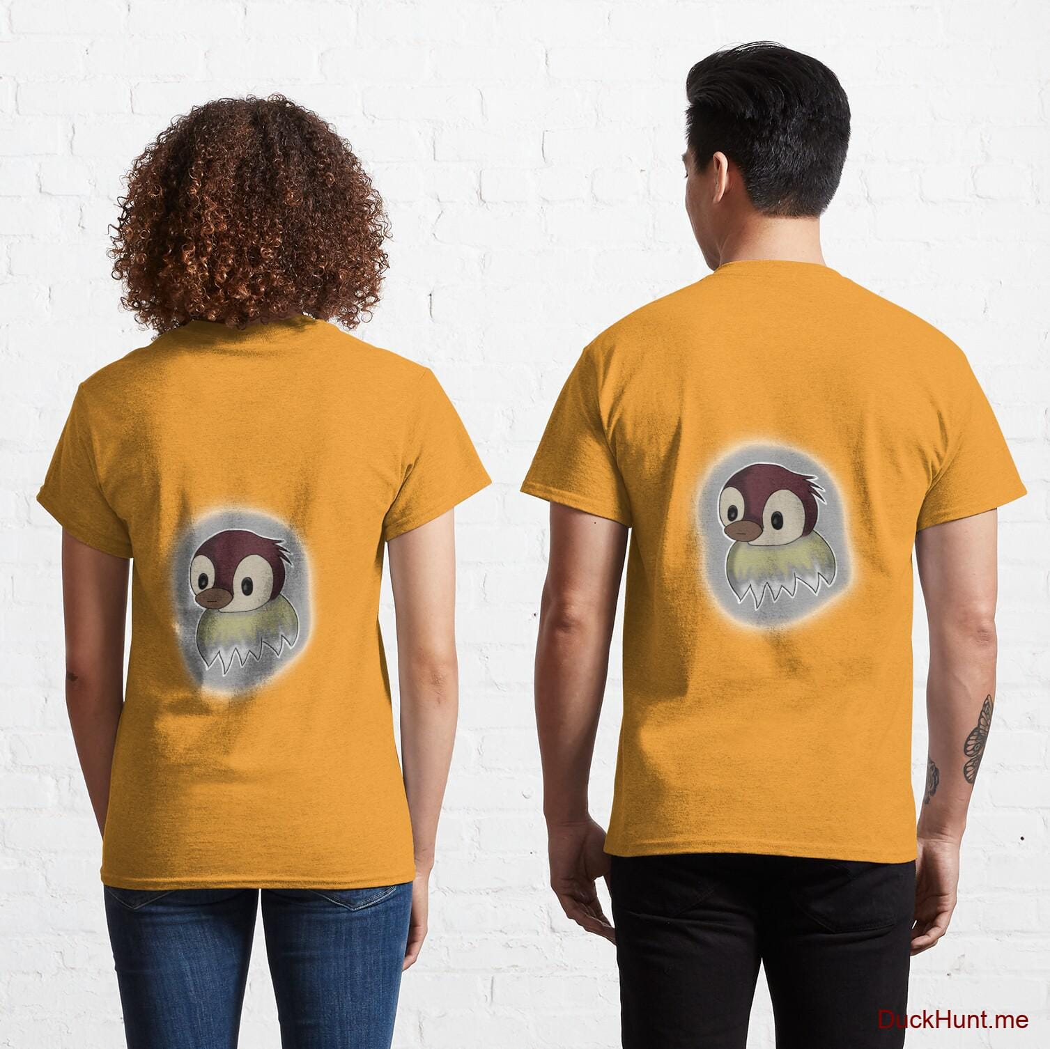 Ghost Duck (foggy) Gold Classic T-Shirt (Back printed)