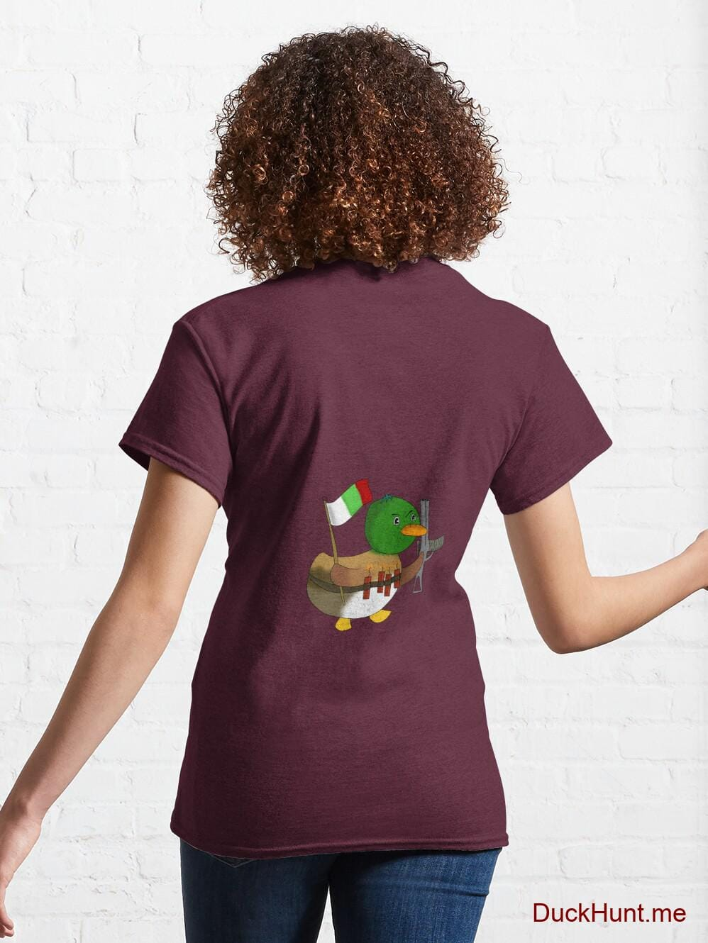 Kamikaze Duck Dark Red Classic T-Shirt (Back printed) alternative image 4