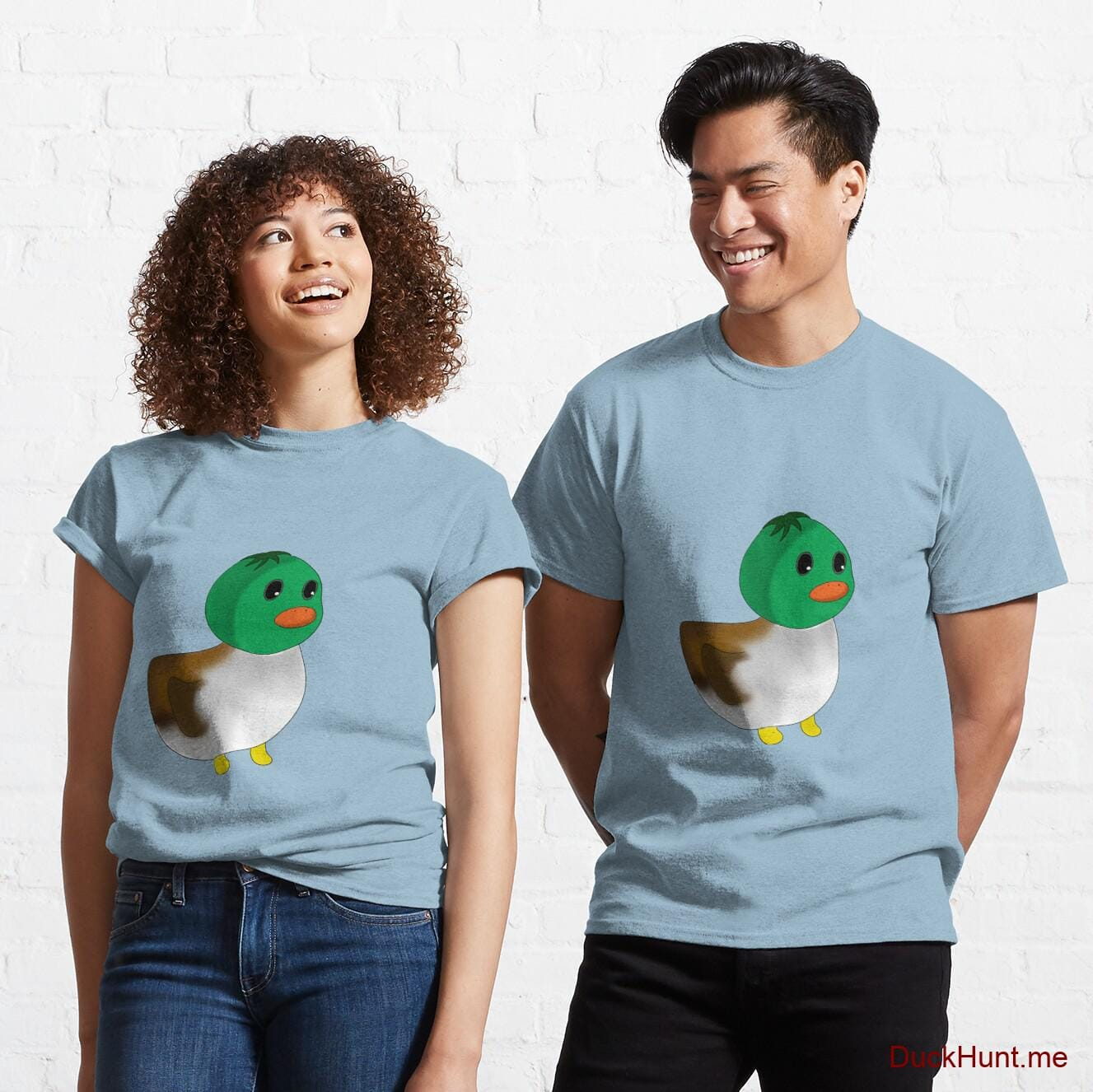Normal Duck Light Blue Classic T-Shirt (Front printed)