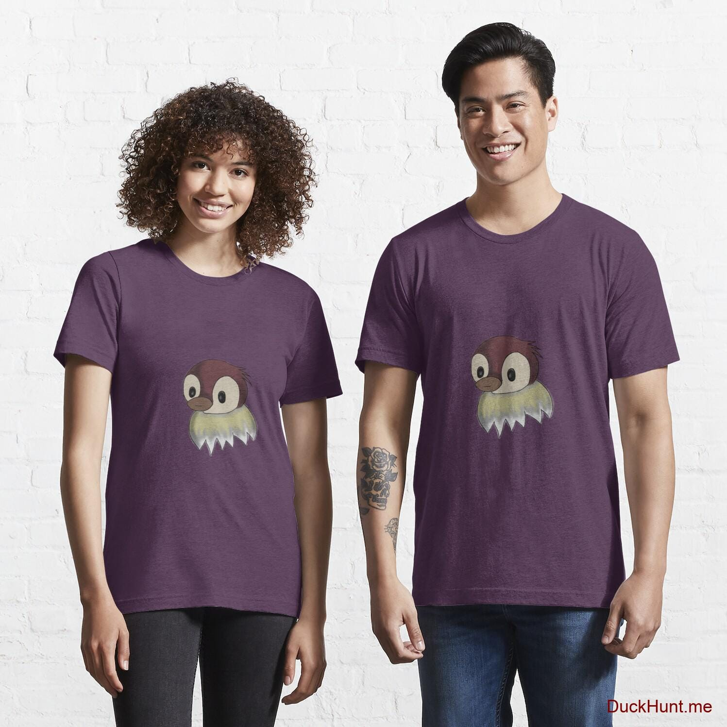 Ghost Duck (fogless) Eggplant Essential T-Shirt (Front printed)
