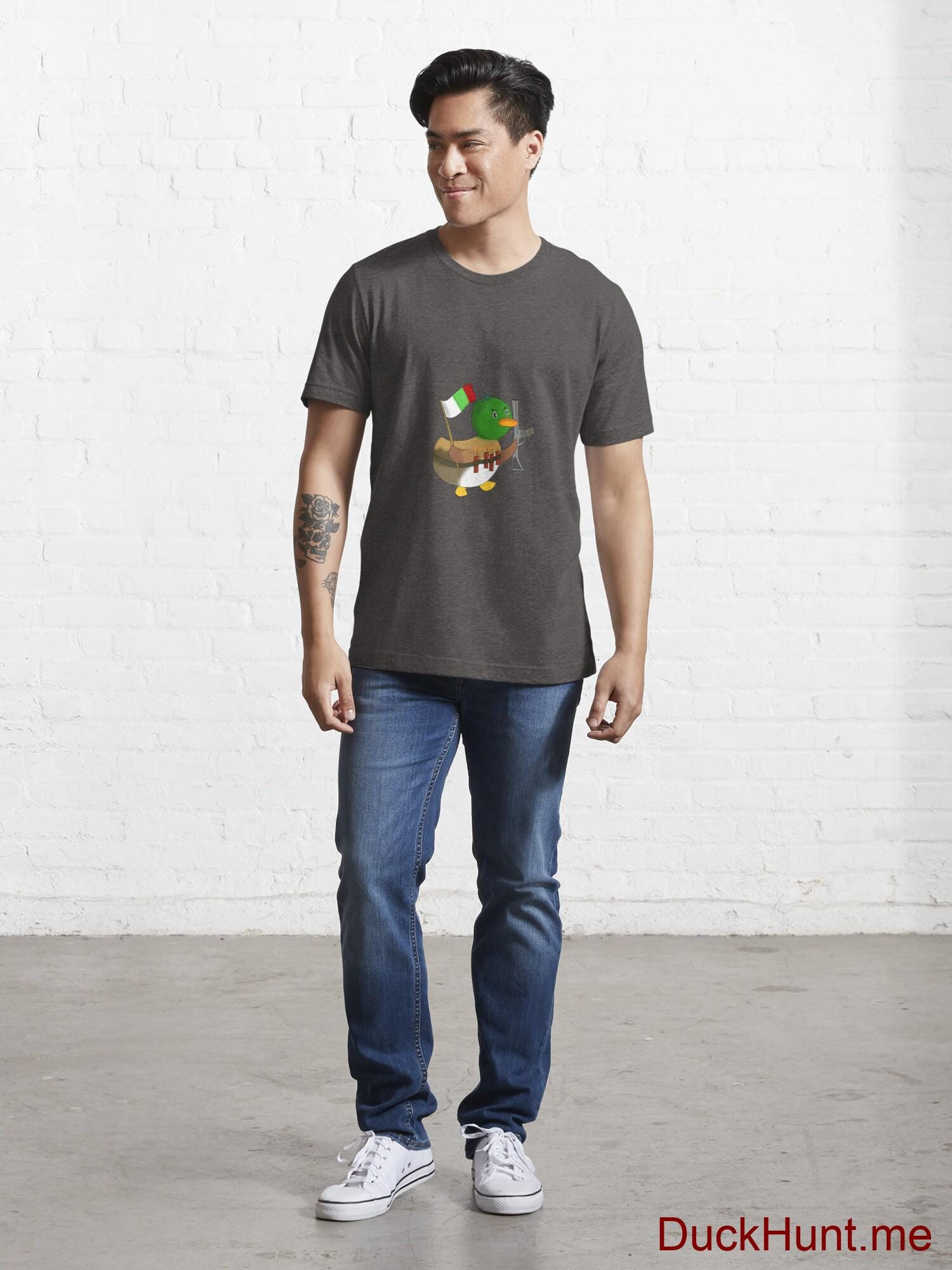 Kamikaze Duck Charcoal Heather Essential T-Shirt (Front printed) alternative image 4