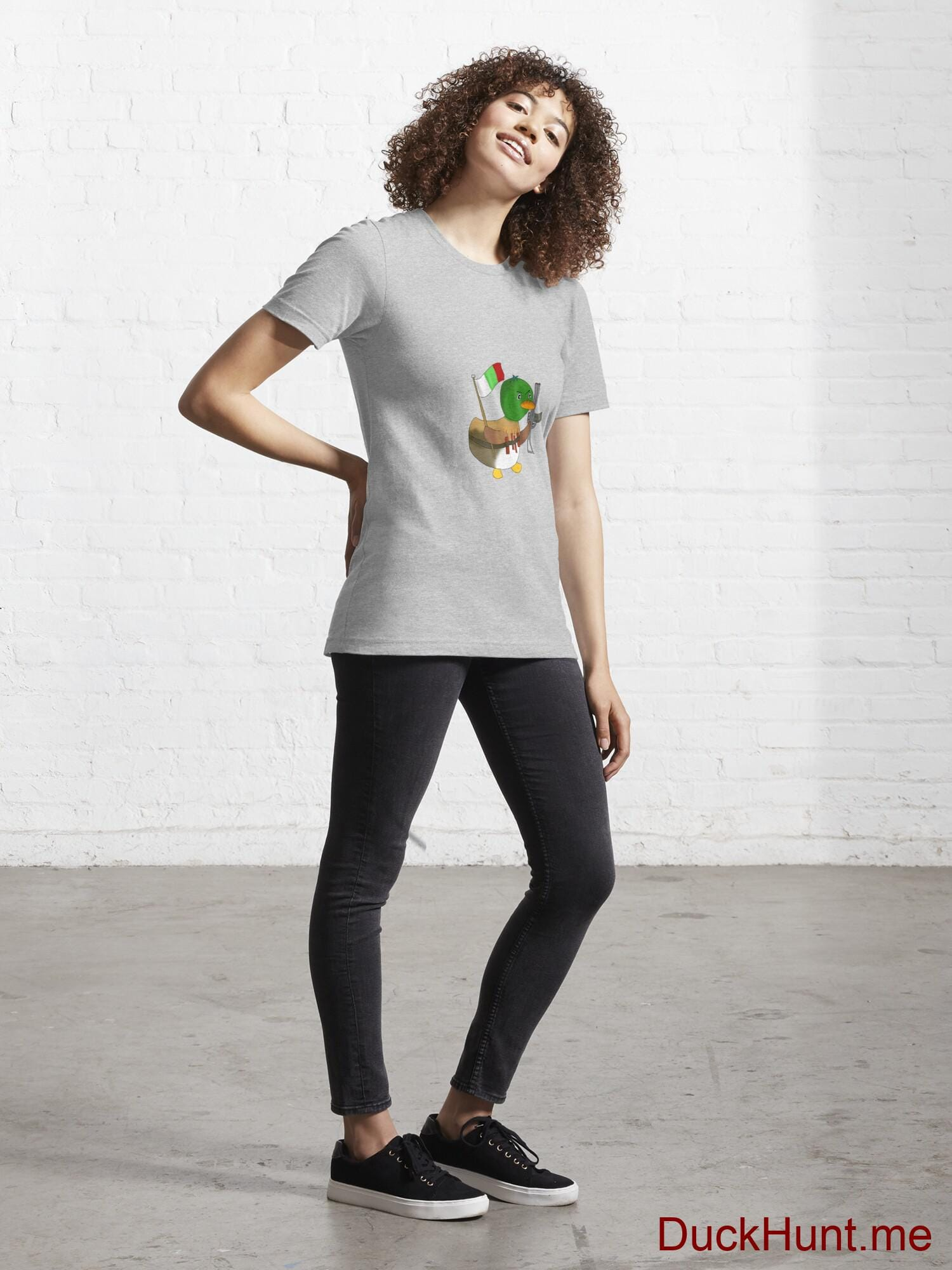 Kamikaze Duck Heather Grey Essential T-Shirt (Front printed) alternative image 3