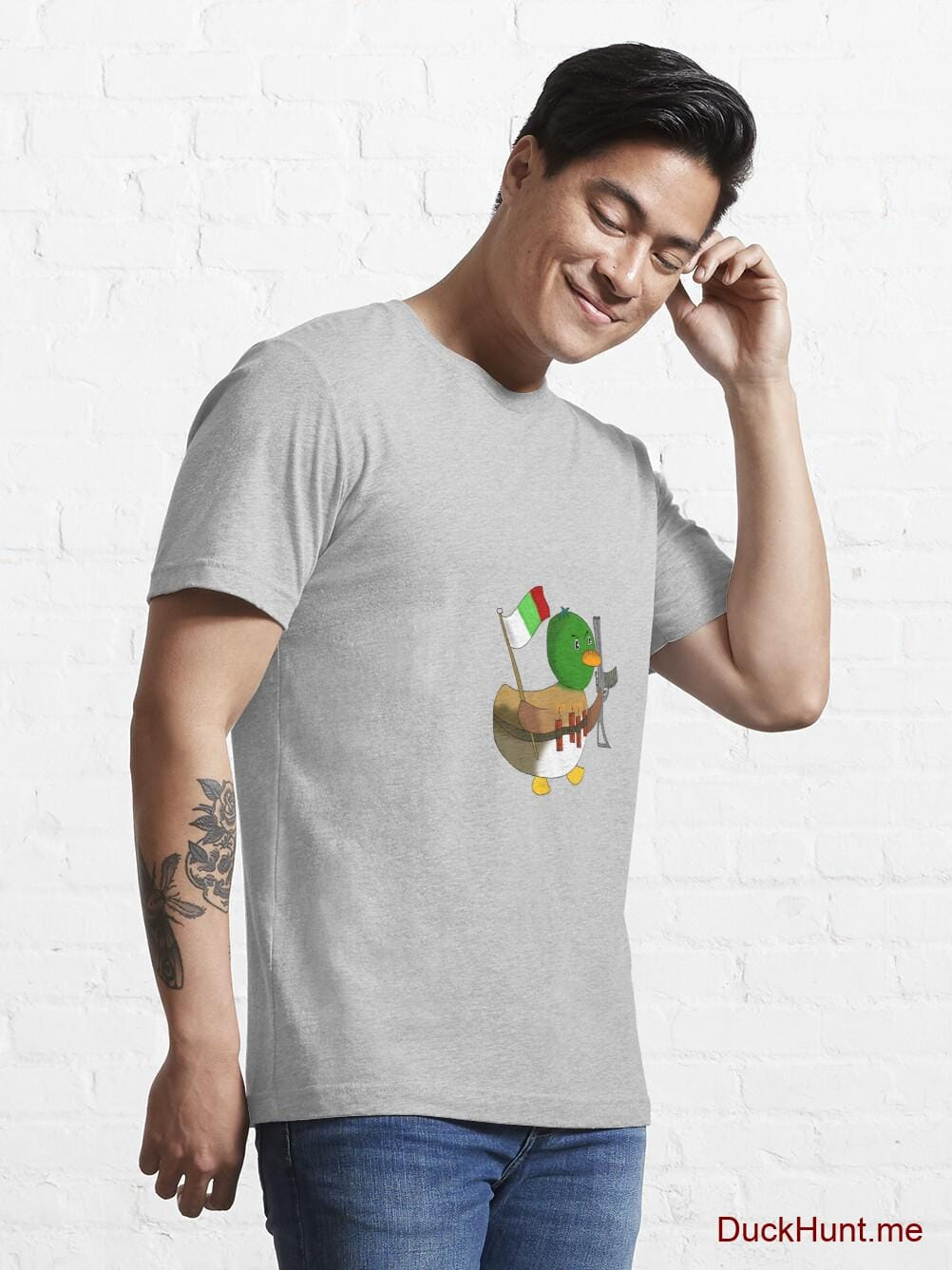 Kamikaze Duck Heather Grey Essential T-Shirt (Front printed) alternative image 6