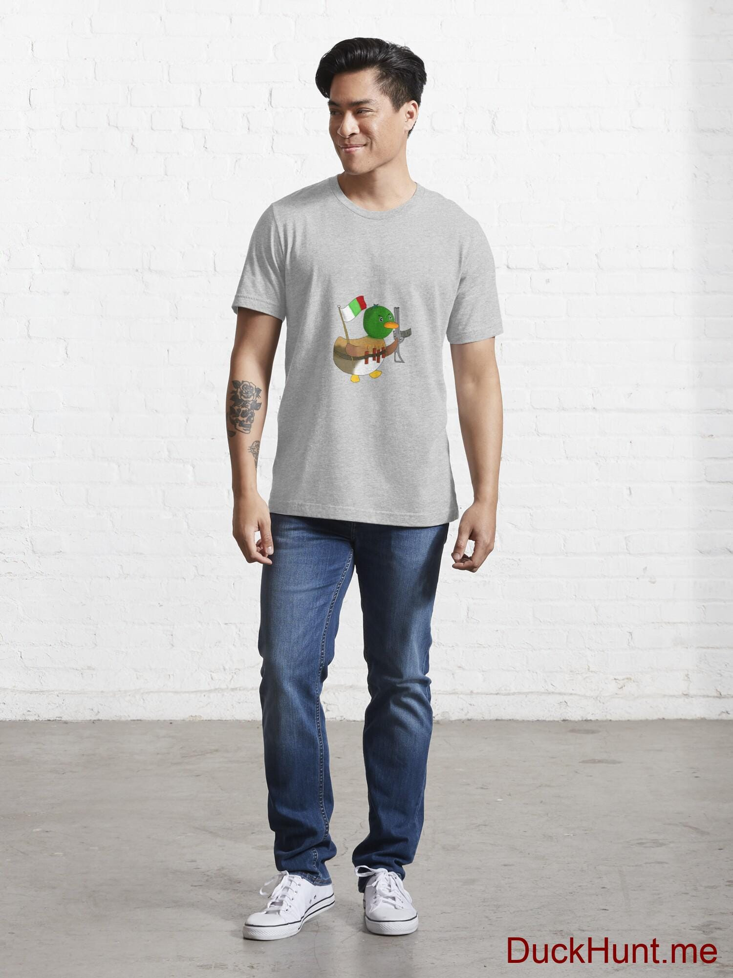 Kamikaze Duck Heather Grey Essential T-Shirt (Front printed) alternative image 4
